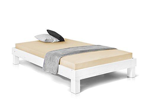 PUMBA Massivholzbett Holzbett Einzelbett Singlebett Bett Futonbett, Made in Germany, 90 x 200 cm, weiss