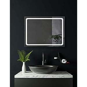 HOKO® LED Badspiegel mit Uhr, Hagen 70x50cm, Badezimmerspiegel mit Licht, Energieklasse A+ (WEEE-Reg. Nr.: DE 40647673)