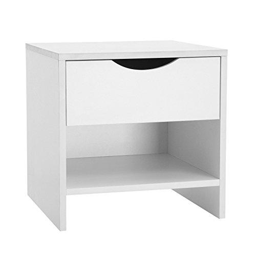 SONGMICS Nachttisch Nachtschrank mit Schublade, Beistelltisch, Einfache Montage 40 x 40 x 40 cm für Schlafzimmer Kinderzimmer Weiß LBC60WT