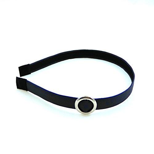 rougecaramel - Accessoires cheveux - Serre tête fin 1.5cm avec boucle rond argenté - bleu