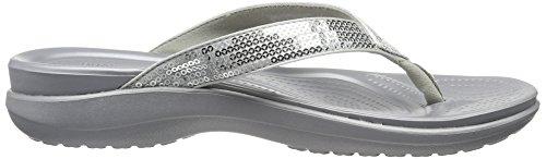Crocs Caprivsqnflp, Ciabatte Donna Argento (Silver)