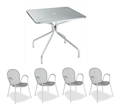 Emu Table pour extérieur Changes 80 x 80 cm Couleur Argent Arts. 801 en Fer zingué et Verni à poussières + 4 fauteuils modèle Ronda avec accoudoir - Produit fabriqué en Italie