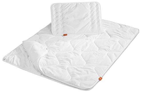 sleepling baby Babybetten Set 4-Jahreszeiten Decke 100 x 135 cm und Kopfkissen 40 x 60 cm, weiß