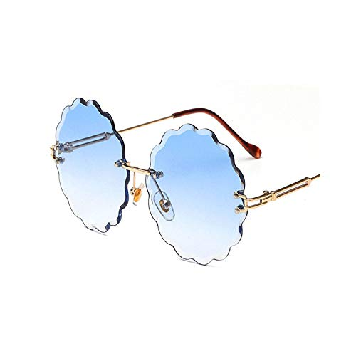 Sport-Sonnenbrillen, Vintage Sonnenbrillen, New Fashion Round Rimless Flower Sunglasses Women Men Vintage Stylish Metal Frame Sun Glasses Unique Decoration Eyewears 04