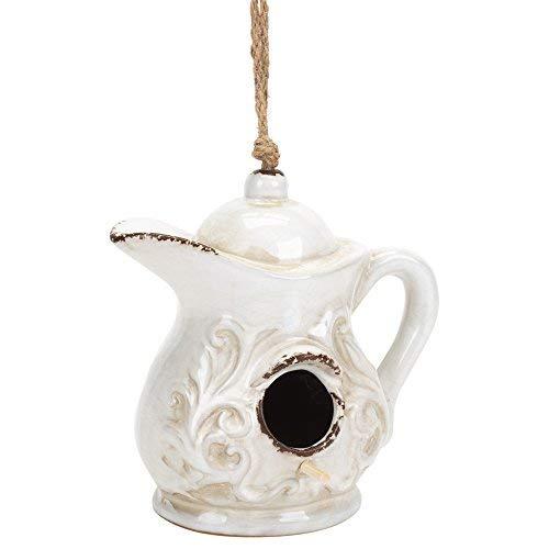 Design Imports Teekanne Rustikal Weiß 17,8x 17,8cm Steingut Vogelhaus mit Seil Aufhänger