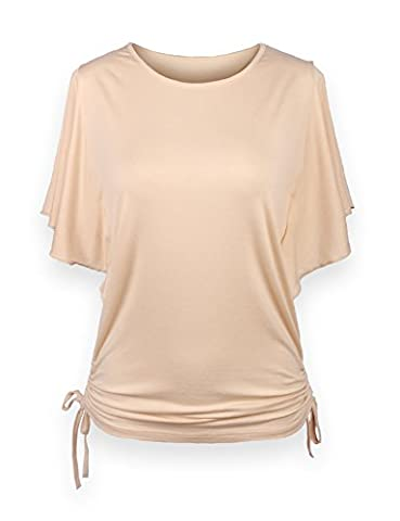 ReliBeauty Women's Flutter Sleeve Solid Tops, Beige, 20