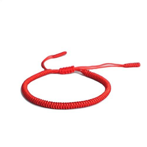 EXINOX Tibetanisches Spirituelles Armband für Männer und Frauen, handgefertigt, traditioneller Knoten buddhistisch - rot Rot Armband