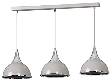 Pendant Ceiling 3 Lights Grey Chrome Finish Lampshade Industrial Retro Modern Chandelier