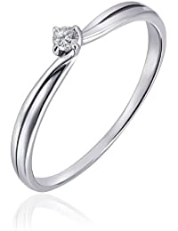 Goldmaid Damen-Ring 9 Karat 375 Weißgold Verlobungsring Solitär 1 Brillant 0,05 ct. So R6274WG
