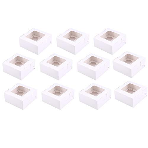 NUOBESTY Kraft-Tortenschachtel der Behälter des kleinen Kuchens 10pcs mit Anzeigenfenstern für Duschparty