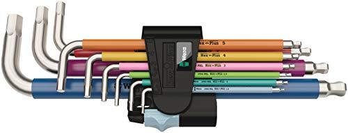 Wera 05022669001 3950 SPKL/9 SM Multicolore Jeu de clés mâles coudées, system. métrique, acier inoxydable, 9 pièces, Multicolore