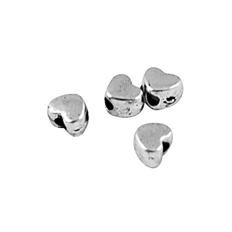 Packet of 100+ Antique Silver Tibetan 3 x 4mm Heart Spacer Beads - (HA15500) - Charming Beads