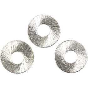 Flacher Ring, D: 15 mm, gebürstetes Silber, Sterlingsilber versilbert, 36 Stck.