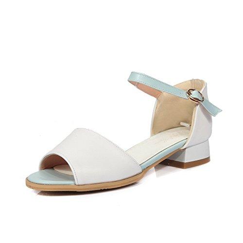 MERUMOTE Damen Flache Schnalle Offene Sommer Outdoor Niedrigen Ferse Sandale Schuhe Weiß 35 EU hHVhMYU57d