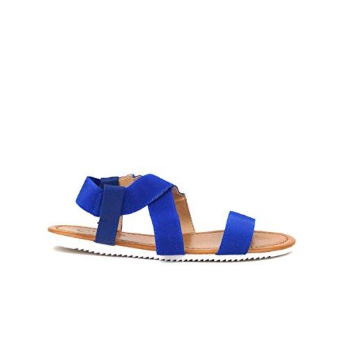 Cendriyon, Sandale brides élastiques SALY Confort Chaussures Femme Bleu