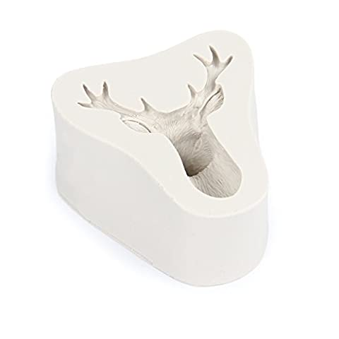 Evilandat Silicone 3D Stag Head Fondant Cookie Chocolate Baking Mold Deer Elk Moulds for Cake Cupcake Christmas