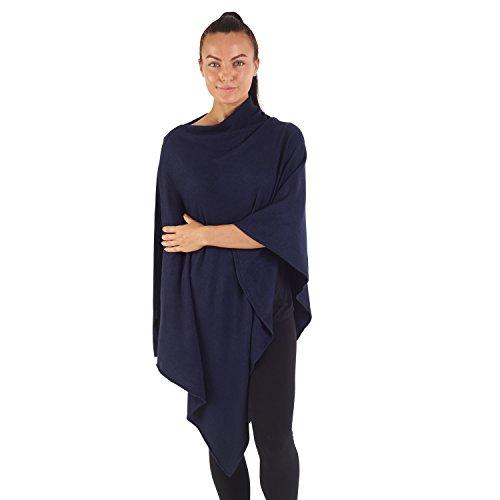 City Comfort® Soft Feel Ponchos für Frauen Ganzjährig Asymmetrischer Pullover Cape Blanket Schal Wickel Poncho - Cashmere Feel (tiefe marine) -