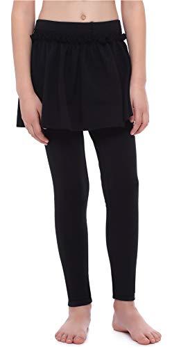 Merry Style Mädchen Warme Lange Leggings aus Baumwolle mit Rock MS10-255 (Schwarz, 122 cm)