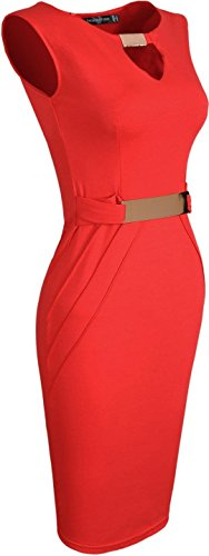 Jeansian Femme Cocktail Party Sexy Fashion Crayon Casual Slim Occupation Robes WKD187 red