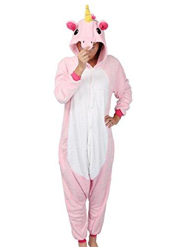 mas Tierkostüm Schlafanzug Verkleiden Cosplay Kostüm zum Karneval Fasching, Unicorn Pink, M: für Höhe 158-167 cm (Einhorn Kostüm Damen)