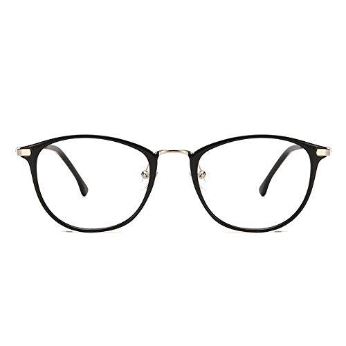 KOMNY Blu-ray Lesebrille Trend große Rahmen Brille Frauen Mode Persönlichkeit flaches Licht Anti-Blau Brille Anti-Blau Lesebrille, A + 150