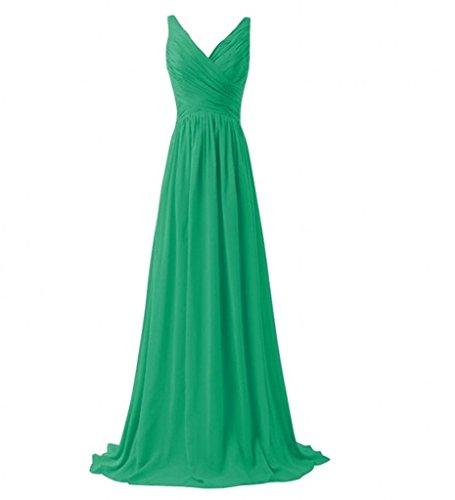 Milano Bride Einfach V-ausschnitt Zwei-traeger Abendkleider Partykleider Brautjungfernkleider Lang A-linie Rock Grün