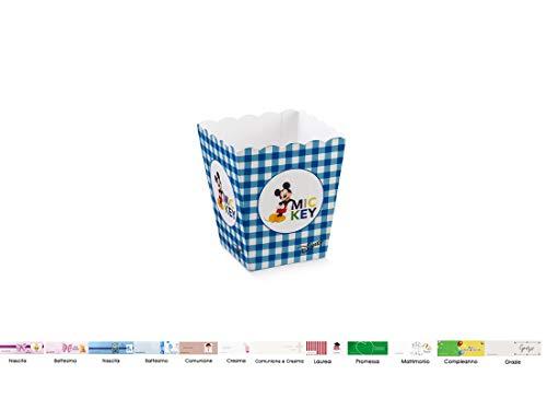 Scotton Mini Aufbewahrungsbox für Pop Corn und Bonbons Disney 10 Stück + Karten Topolino 68038 (Mini Maus Geburtstag Thema)