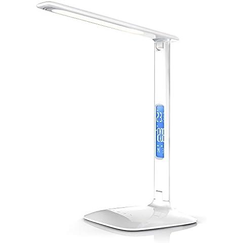 Brandson - Mesa de escritorio LED de alta potencia con calendario | Lámpara de mesa LED / de oficina / Iluminación de mesa | Calendar Desk Lamp | 3 colores de luz | Función de temperatura, alarma y calendario | Alto rendimiento lumínico / aprox. 450 lm | Control táctil (por contacto) | blanco