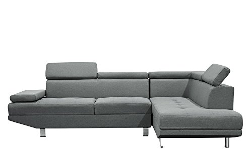 Canapé d'angle design gris en tissu 4/5 places (angle droit)