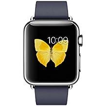 Apple Watch Smartwatch mit Gehäuse aus rostfreiem Stahl, 38 mm, Armband und Ohrstecker, Nachtblau modern (Größe M)