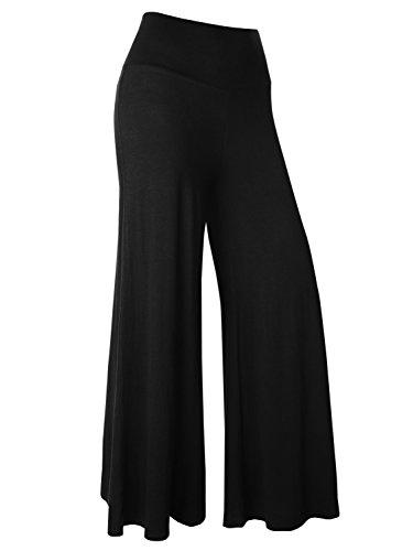BAISHENGGT Damen Lange Stretch Lagenlook Hose im Marlene-Stil Schwarz XL
