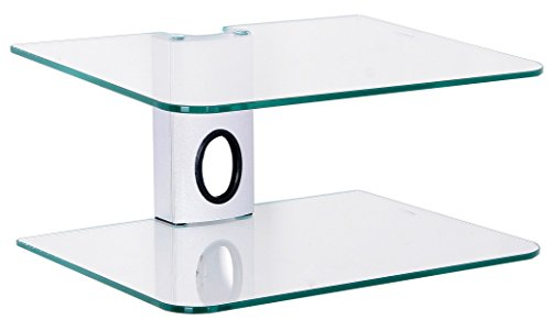 Goldline Sky Box Wall Mount, DVD Wall Shelf , DVD Wall Bracket and 2 x Floating clear glass shelves