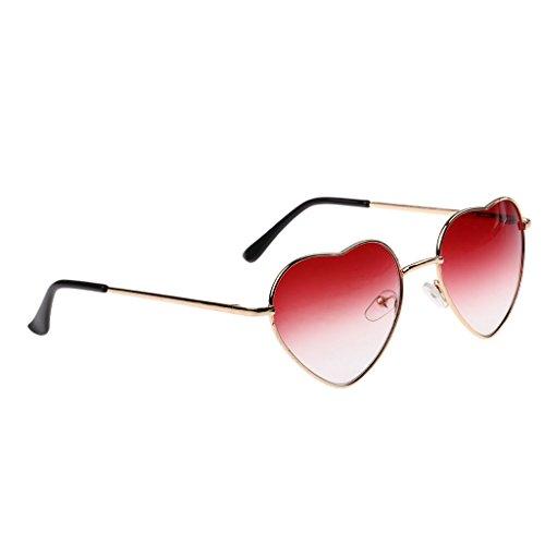 Homyl Modern Herzform Sonnenbrille Gläser mit Anti Reflex Glas für Damen und Frauen - Rot