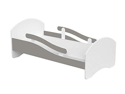 Clamaro \'LEO\' Kinderbett Jugendbett 160x80 mit verstellbarem Rausfallschutz (beidseitig) und Kantenschutzleisten, Bett Set inkl. Lattenrost und Matratze - Weiß/Grau