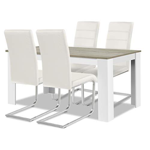 agionda ® Esstisch + Stuhlset : 1 x Esstisch Toledo Eiche Sandeiche Weiss 140 x 90 + 4 Freischwinger Stuhl Weiss -