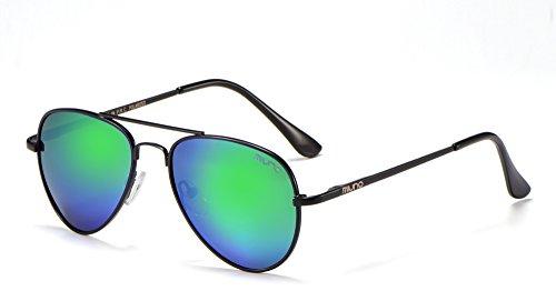 Miuno Kinder Polarisiert Sonnenbrille verspiegelt Polarized Aviator für Jungen und Mädchen Etui 3025k (Grünverspiegelt/Schwarz)