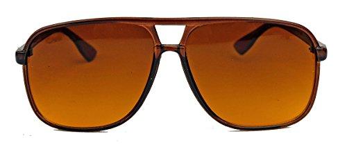 amashades Vintage Nerdies Old School Brille für Damen o Herren oversized rechteckig 80er Jahre Brillengestell als Sonnenbrille oder Nerdbrille mit Klarglas F75 (Braun/Braun)