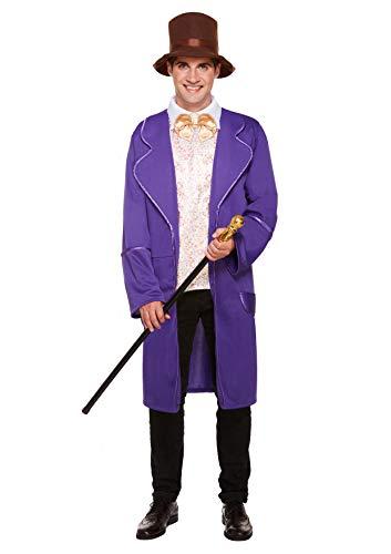 Wonka Kostüm Willy Männer - Emmas Kleiderschrank Schokoladenfabrik Kostüm Männer - Perfect Book Day oder Film ihnen ausstatten UK Größe M-XL (Men: Medium, Purple)