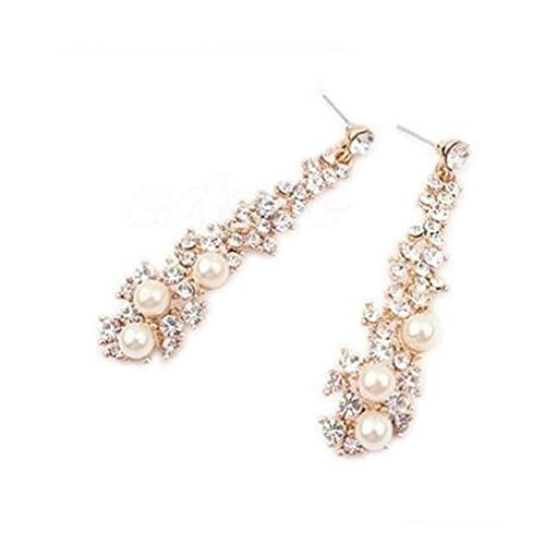 Pinhan Elegant Faux Pearl Cluster Ohrring Sparkle Zirkonia Perlen Kronleuchter Baumeln Braut Halskette für Frauen Mädchen