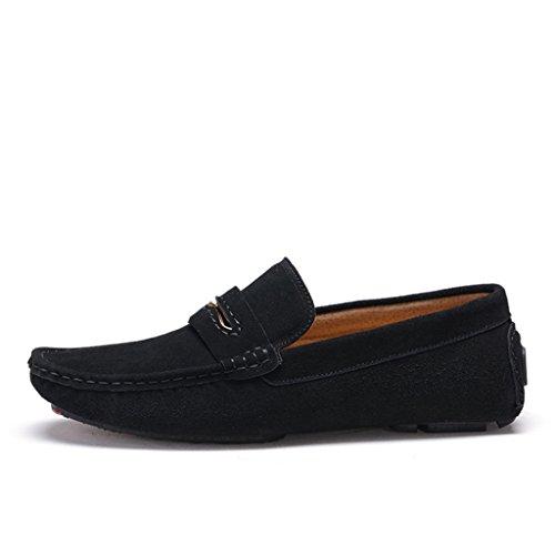 Men's Minitoo à rayures attrait outils Loafers Chaussures bateau en cuir Noir - noir