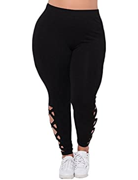 AMUSTER Mode Donne Gilet Leggings Elastici Plus Dimensione Criss-Cross Solid Hollow Out Sport Pantaloni