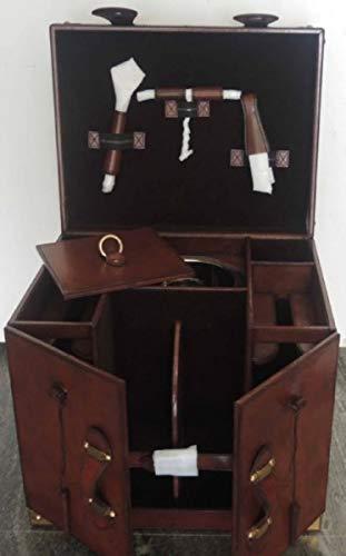 Casa Padrino Luxus Rindsleder Minibar/Kofferbar mit Zubehör Cognac Braun 41 x 32,5 x H. 37 cm - Luxus Qualität