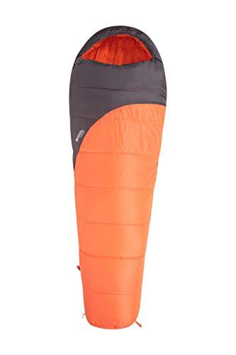 Mountain Warehouse Saco de Dormir Summit 250-22 x 40 cm - Saco de Acampada Tipo Momia Naranja Cremallera Zurdo - Longitud Larga (215cm)