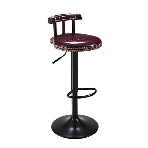 - Brown-leder-counter (LYRJBD Carbonized Wood Tall Barhocker-Metall Barhocker Höhenverstellbar Home Dining Chairs Drehbare Küchenbarhocker Industrial Style Counter Chairs (Color : Brown))