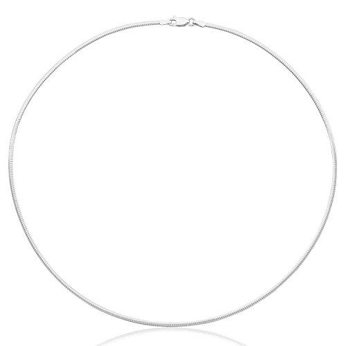 COZMOS Feine Halsreif Omegakette Collier Halskette Silberkette Kette 925 Silber Sterling 1mm - 30, 35, 40, 45, 50, 55, 60cm -