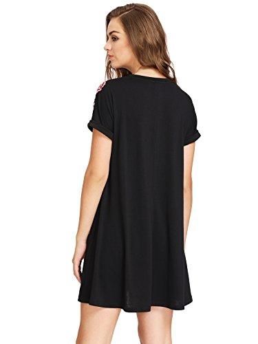 ROMWE Damen Rose Blumenstickerein Tunika Kleid Weit Geschnitten Glockenhülse Sommerkleid Schwarz#2
