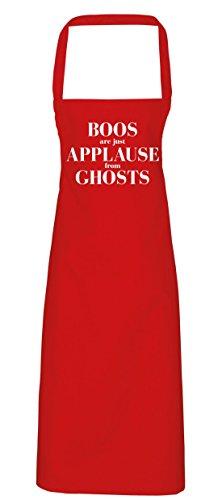 Boo Diy Kostüm (hippowarehouse Boos sind nur Beifall aus Ghosts Schürze Küche Kochen Malerei DIY Einheitsgröße Erwachsene, rot,)