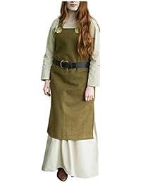 Medieval Dress Green Strap Dress Garment Women Wool