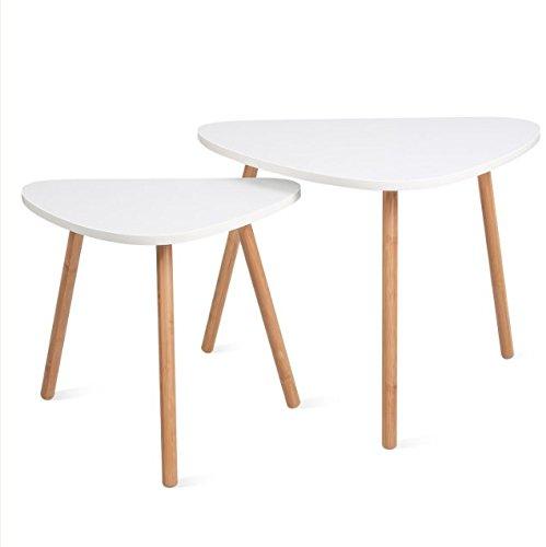 Homfa Tables Gigognes Scandinaves Lot de 2 Tables Basses Blanche de Café (Triangle)