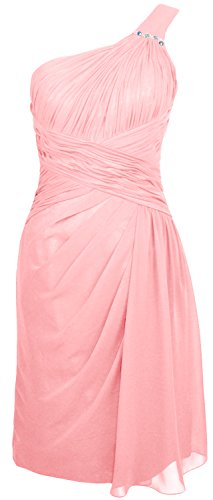 MACloth Women One Shoulder Short Draped Bridesmaid Dress Cocktail Party Gown Blush Pink